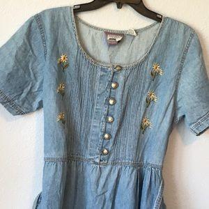 Vintage denim BOHO large dress with pockets